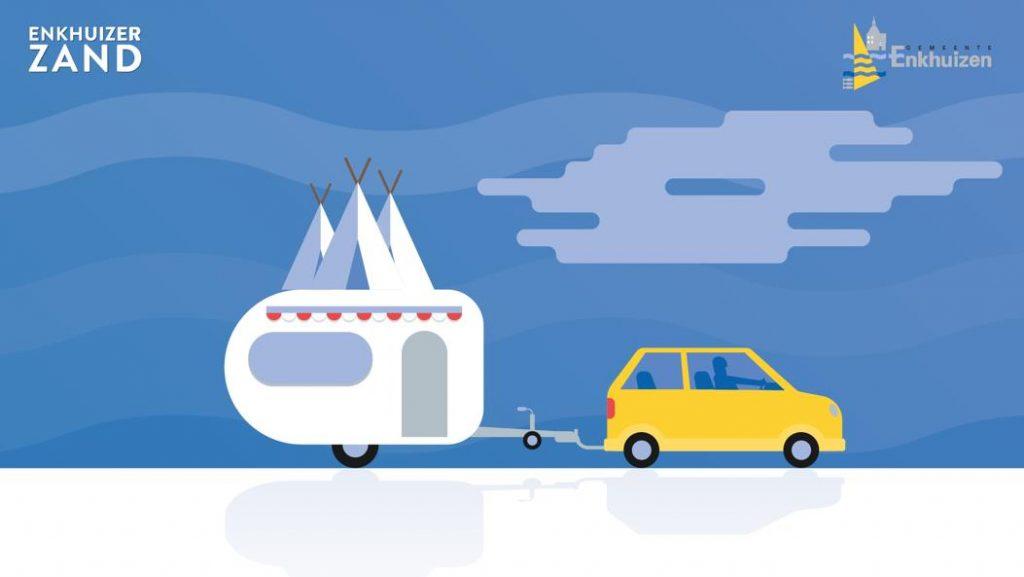 Tekening van kleine personenauto met caravan